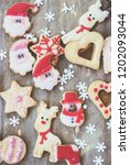 royal icing decorated christmas ... | Shutterstock . vector #1202093044