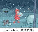 illustration of girl and cat... | Shutterstock .eps vector #120211405