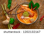 Stock photo spicy instant noodles soup with shrimp tom yum kung thai style noodle 1202132167