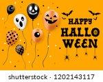 happy halloween banner  party... | Shutterstock .eps vector #1202143117