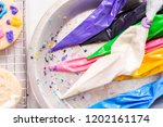 piping bag with different color ... | Shutterstock . vector #1202161174