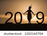 new year 2019 concept with... | Shutterstock . vector #1202165704