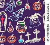 halloween. seamless pattern.... | Shutterstock .eps vector #1202166211