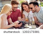 cheerful group of friends... | Shutterstock . vector #1202173381