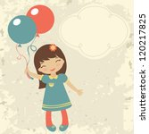 old style card with little girl ... | Shutterstock .eps vector #120217825