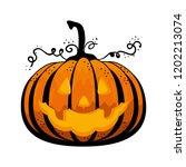 happy halloween pumpkin... | Shutterstock .eps vector #1202213074