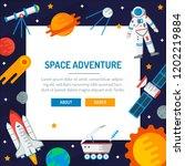 space banner. astronaut ... | Shutterstock .eps vector #1202219884