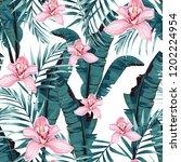 tropic summer painting seamless ... | Shutterstock .eps vector #1202224954