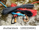 metal carabine and rope for... | Shutterstock . vector #1202234041