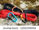 metal carabine and rope for... | Shutterstock . vector #1202234044