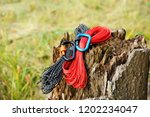 metal carabine and rope for... | Shutterstock . vector #1202234047