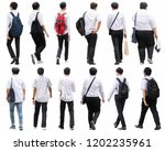 asia people walking isolated... | Shutterstock . vector #1202235961