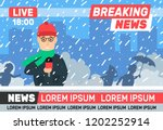 breaking news reporter... | Shutterstock .eps vector #1202252914