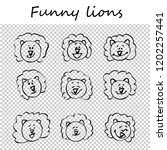 funny lions. doodle animal... | Shutterstock .eps vector #1202257441