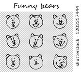 funny bears. doodle animal... | Shutterstock .eps vector #1202257444
