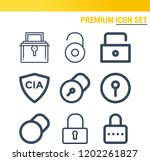 simple set of  9 outline icons... | Shutterstock .eps vector #1202261827
