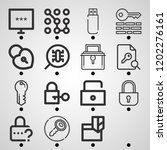 simple set of  16 outline icons ... | Shutterstock .eps vector #1202276161