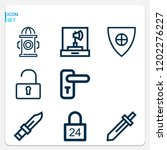 simple set of  9 outline icons... | Shutterstock .eps vector #1202276227