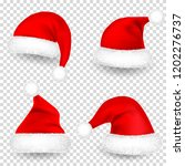 christmas santa claus hats with ... | Shutterstock .eps vector #1202276737