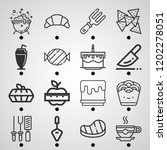 simple set of  16 outline icons ... | Shutterstock .eps vector #1202278051