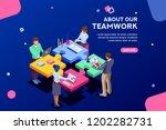 startup employees. goal... | Shutterstock . vector #1202282731