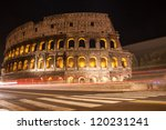 Coliseum at night in Rome, Italy - stock photo