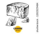 hand drawn sketch cheese... | Shutterstock .eps vector #1202325484