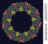 christmas hand drawn wreath... | Shutterstock .eps vector #1202327917