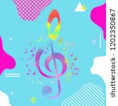 colorful g clef with music... | Shutterstock .eps vector #1202350867