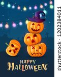 halloween background  pumpkins. ... | Shutterstock .eps vector #1202384011