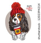 Stock vector adorable cavalier king charles spaniel in a red knitted hat and with a plastic cup happy coffee 1202394214