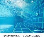 blue swimming pool.spa corner... | Shutterstock . vector #1202406307