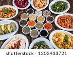 turkish cuisine cold appetizers ... | Shutterstock . vector #1202433721