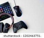 gamer workspace concept  top... | Shutterstock . vector #1202463751