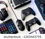gamer workspace concept  top... | Shutterstock . vector #1202463754