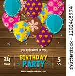 birthday party invitation card... | Shutterstock .eps vector #1202465974
