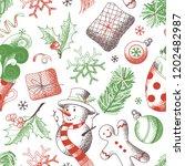 vector seamless christmas... | Shutterstock .eps vector #1202482987