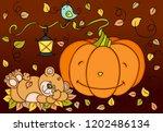 pumpkin teddy bear autumn... | Shutterstock .eps vector #1202486134