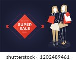 two women holding bags. super... | Shutterstock .eps vector #1202489461