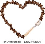 heart frame shaped coffee beans ... | Shutterstock .eps vector #1202493007