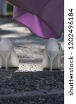 bride's white shoes and lilac...   Shutterstock . vector #1202496184