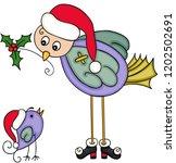bird mother offering holly... | Shutterstock .eps vector #1202502691