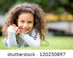 happy little girl having fun at ... | Shutterstock . vector #120250897
