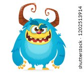 Stock vector angry cartoon monster halloween vector blue and horned monster yeti or bigfoot character 1202513914