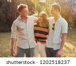 group of friends relax in park... | Shutterstock . vector #1202518237