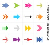 16 arrow sign pictogram set....