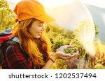 asian woman travel  nature.... | Shutterstock . vector #1202537494