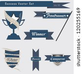 Set of success and achievement badges and elements in vector - stock photo