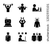 emotional stress glyph icons... | Shutterstock .eps vector #1202555101