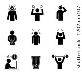 emotional stress glyph icons... | Shutterstock .eps vector #1202555107